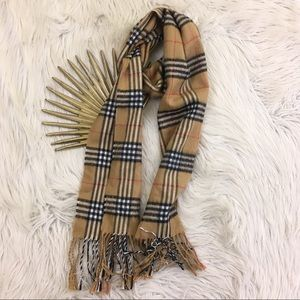 100% Cashmere Carmel Plaid Scarf Made In Scotland